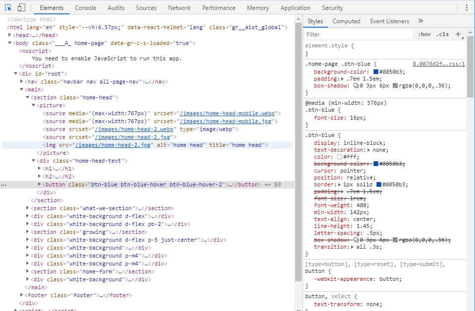 Inspect website design info - How to check Website Quality