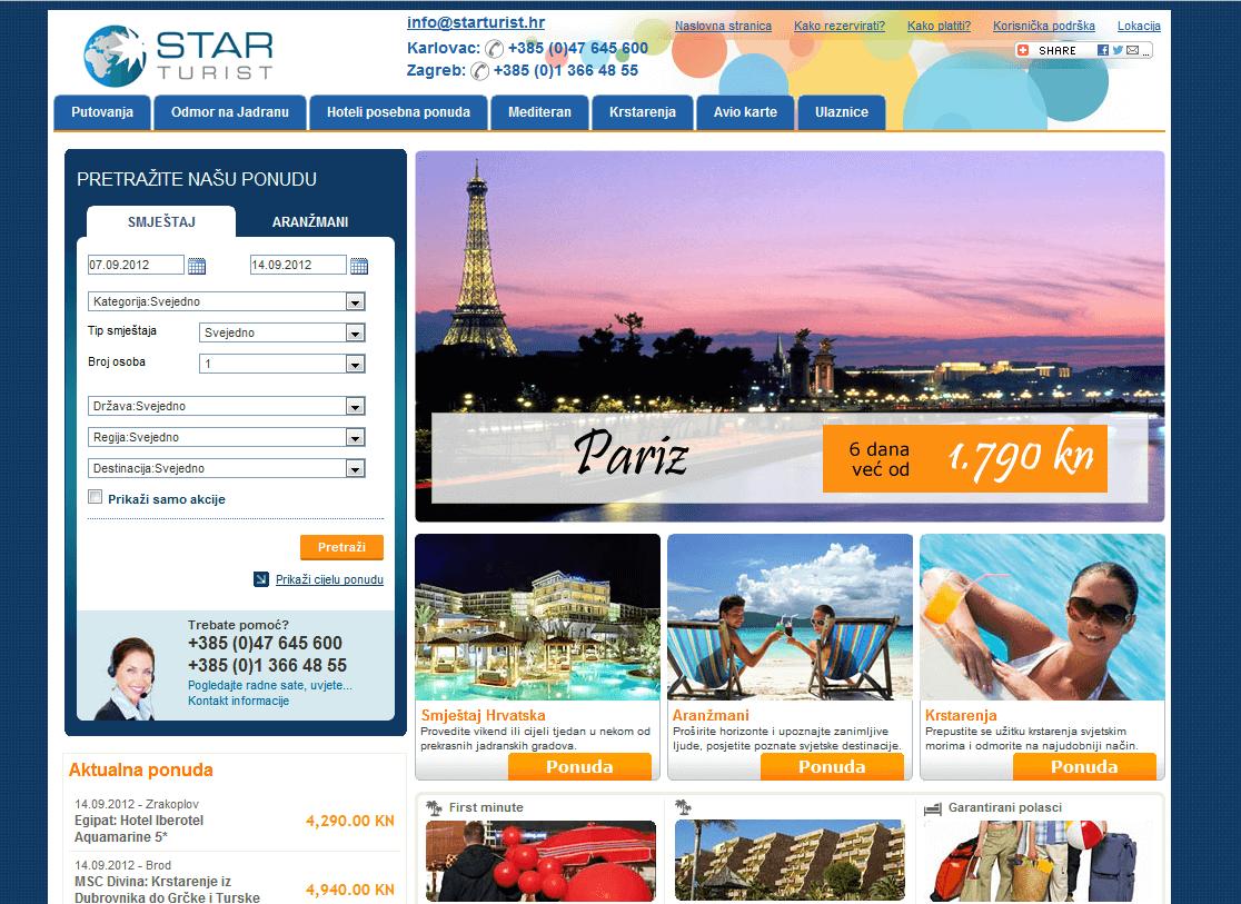 Old travel website design