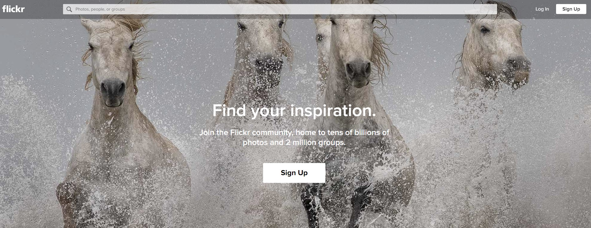 Flickr landing page